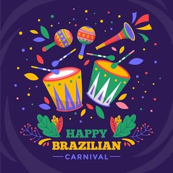 Artículos de carnaval brasileño dibujados a mano