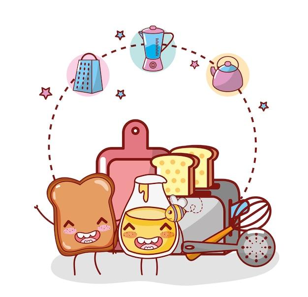 Artículos de cocina dibujos animados kawaii dibujos animados