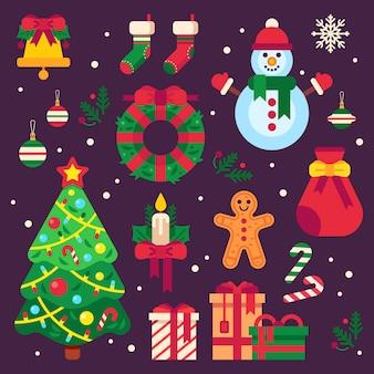 Artículos coloridos de navidad