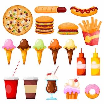 Artículos de comida rápida en blanco