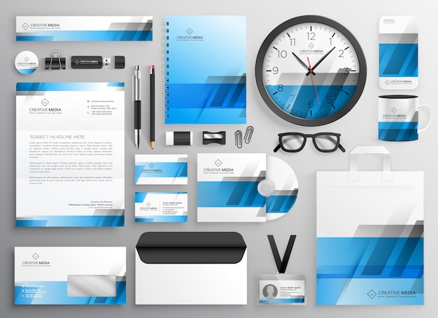 Artículos de papelería profesional azul empresarial conjunto