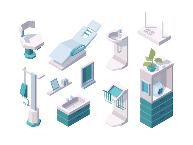 Artículos dentales. estomatología herramientas profesionales consulta médica dentro de la clínica muebles dentista vector salud isométrica. ilustración dispositivo interior para lugar de trabajo estomatológico