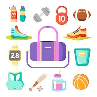 Artículos deportivos alrededor de la bolsa de gimnasio