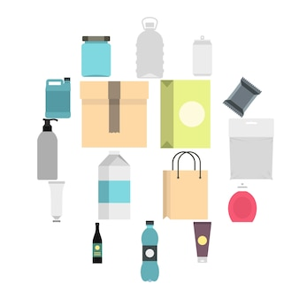Artículos de embalaje set iconos planos