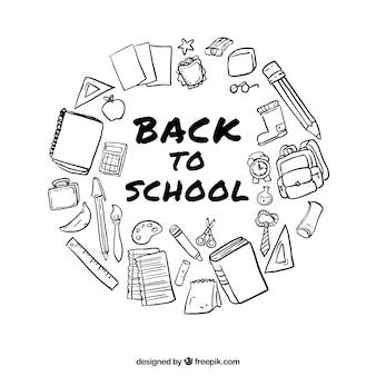 Artículos escolares dibujados a mano para la vuelta al colegio