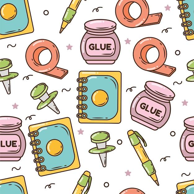 Artículos escolares de dibujos animados dibujados a mano doodle diseño de patrones sin fisuras