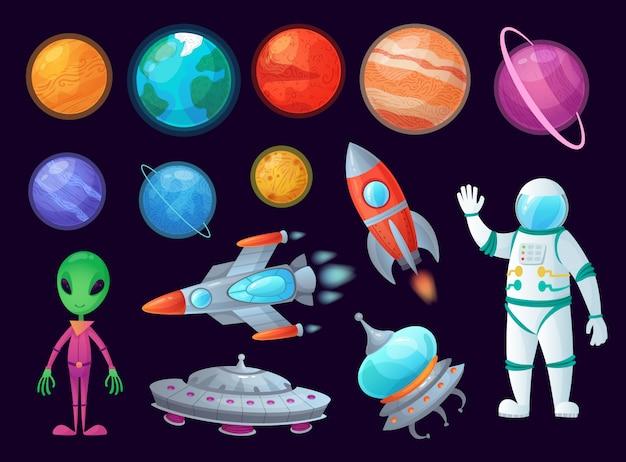 Artículos espaciales. ovni alienígena, planeta universo y misiles cohetes. conjunto de elementos de gráficos de dibujos animados de juego de planetas