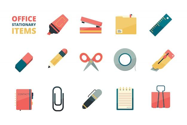 Artículos estacionarios. herramientas de oficina de negocios carpeta de papel borrador de lápiz pluma clip de papel grapadora marcador colección de iconos planos