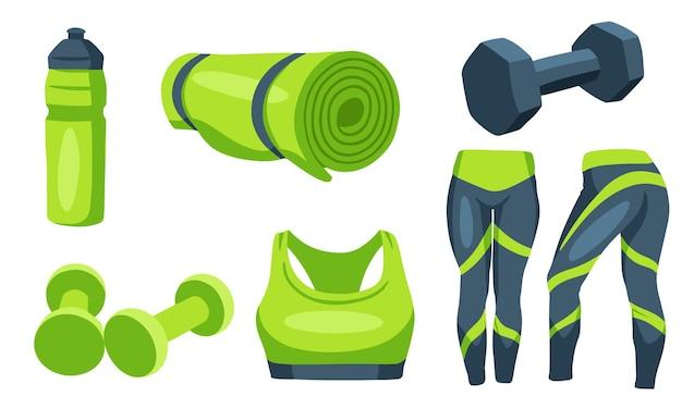Artículos de fitness. mancuernas para deportes. ropa para entrenar, una colchoneta, una botella de agua. estilo de dibujos animados.