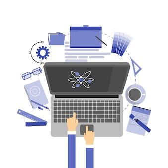Artículos y herramientas de diseño gráfico, objetos diversos de oficina e ilustración de equipos