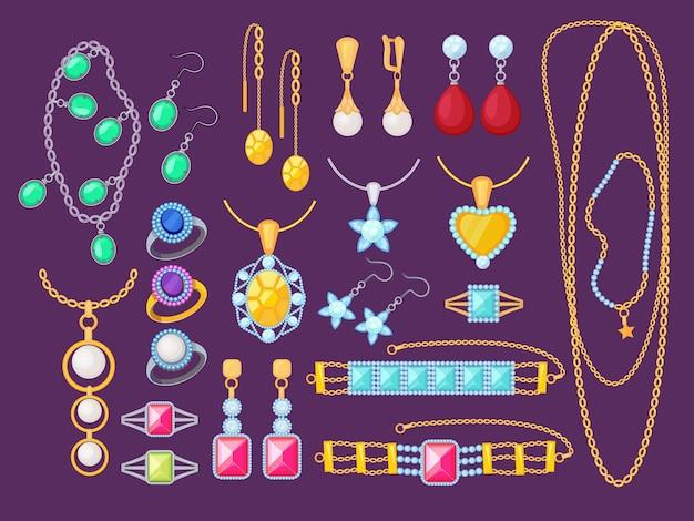 Artículos de joyería. accesorios de mujer de belleza tienda glamour diamantes pulseras de oro gemas colgantes preciosos colección de vectores de joyas. ilustración joyería cara, pulsera de lujo y gema