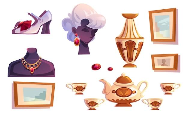 Artículos de lujo, joyas de oro femeninas, jarrón, fotos