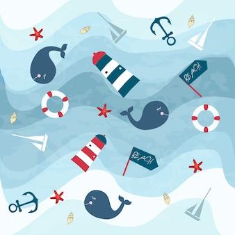 Artículos de océano azul de verano y mundo de ballena bajo el agua