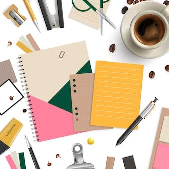 Artículos de oficina de patrones sin fisuras con tijeras de café y bolígrafo realista