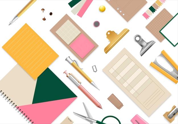 Artículos de oficina de patrones sin fisuras con tijeras, lápiz y bolígrafo realista