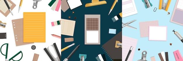 Artículos de oficina planos laicos con tijeras, lápiz y bolígrafo realistas