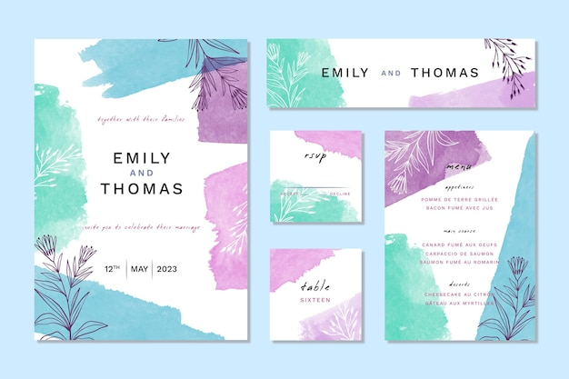 Artículos de papelería de boda de acuarela azul y violeta