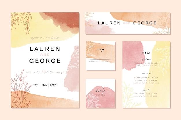 Artículos de papelería de boda de acuarela de colores otoñales