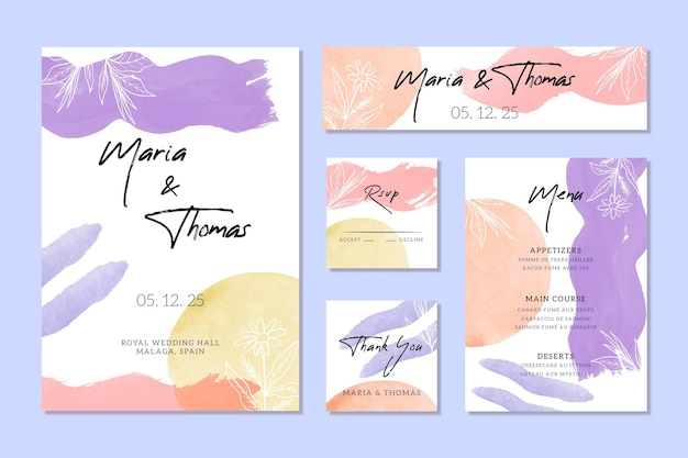 Artículos de papelería de boda de acuarela de colores
