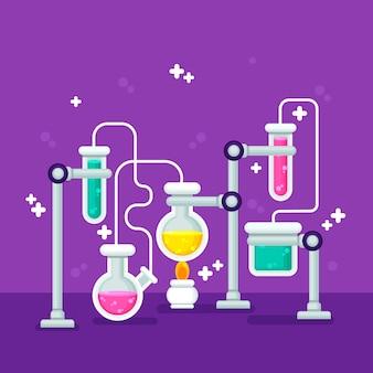 Artículos de papelería de laboratorio de ciencias de diseño plano