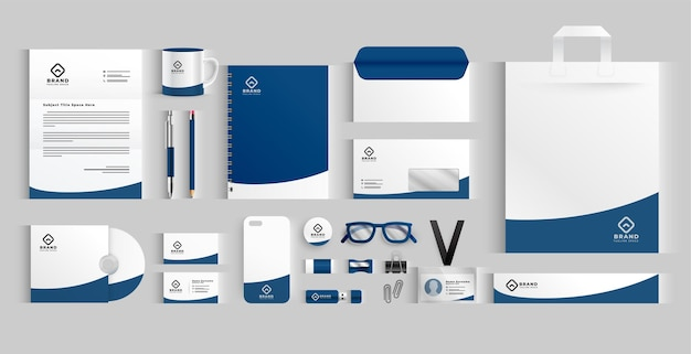 Artículos de papelería de negocios con estilo en color azul