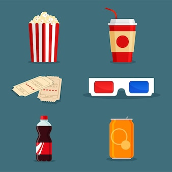 Artículos de película. bebida gaseosa en lata y botella, palomitas de maíz en caja de cartón blanco rojo a rayas clásico, boletos y gafas 3d en estilo de dibujos animados para cartel de cine. comida rápida para llevar en estilo plano de moda.
