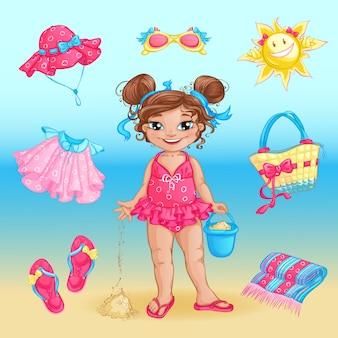 Artículos de playa de verano y niña linda.