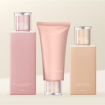 Artículos de tocador, cuidado de la piel o belleza capas duales tapa transparente embalaje de botellas y tubos, colores desnudos.