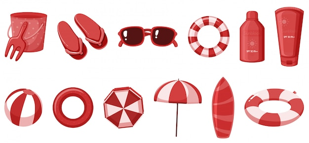 Artículos de verano aislados en color rojo.