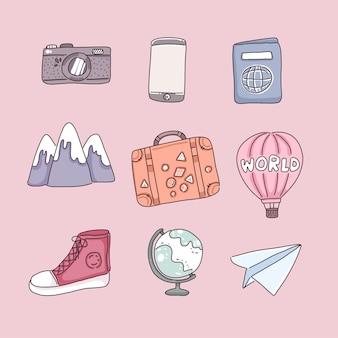 Artículos para viajar en personaje de dibujos animados, ilustración plana sobre fondo rosa