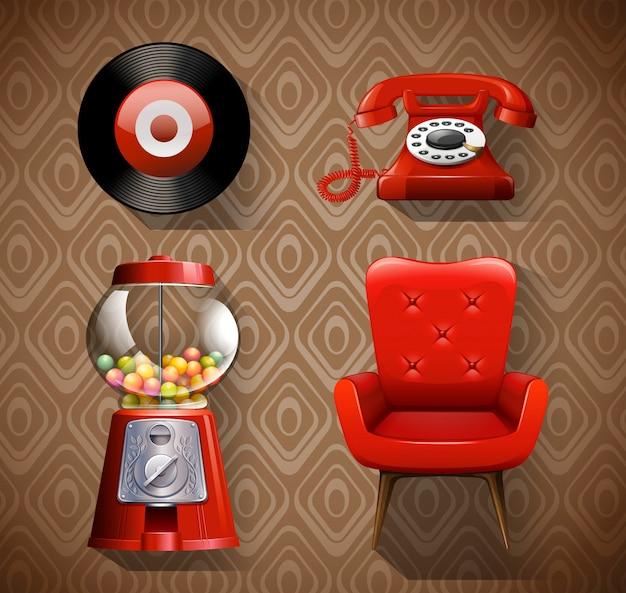 Artículos vintage en color rojo