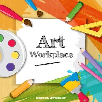 Artist workspace, full color vector gratuito