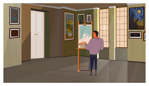Artista atlético masculino pintura sobre lienzo ilustración