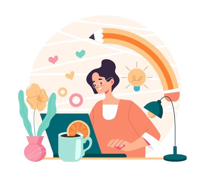 Artista digital, diseñador, autónomo, mujer, trabajador, carácter, sentado, en, computadora, y, dibujo, caricatura, plano, ilustración