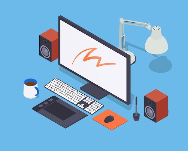Artista digital en el trabajo