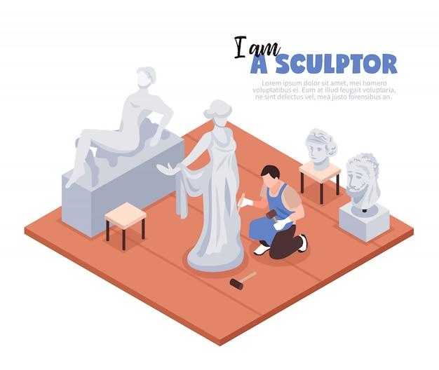 Artista escultor con instrumentos profesionales durante el proceso creativo en el espacio de trabajo isométrica ilustración vectorial