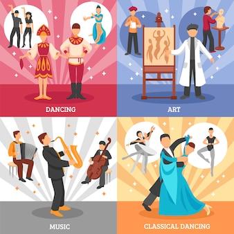 Artista gente concepto icons set