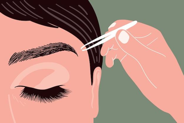 Artista de maquillaje se depila las cejas con pinzas