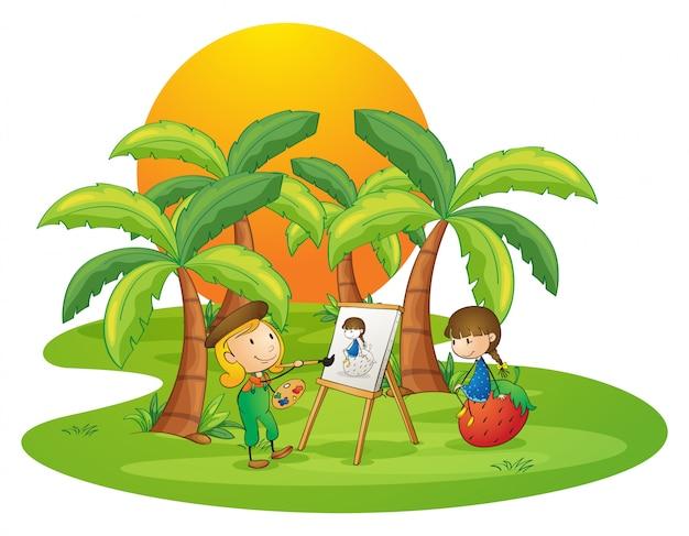 Una artista pintando a una niña.