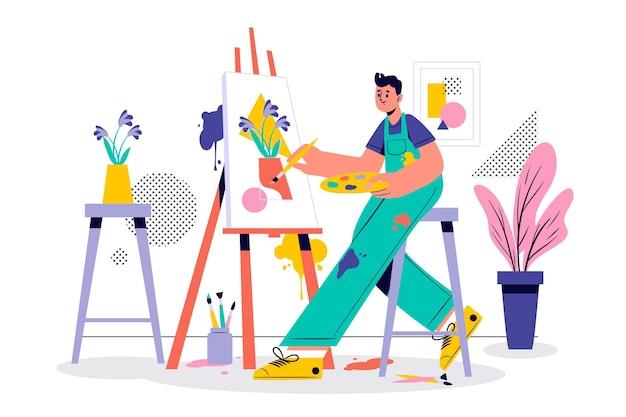 Artista pintando sus pensamientos sobre lienzo vector gratuito