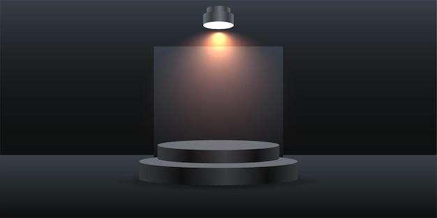 Artista, podio, ilustración, backdround, con, luces