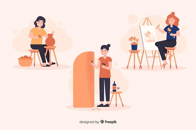 Artista en el trabajo de diseño plano