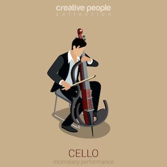 Artista de violonchelo plano 3d concepto de infografía isométrica web