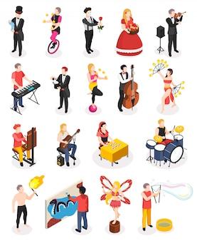 Artistas callejeros, músicos, maestros del espectáculo de fuego, magos, estatuas vivas y floristas, personas isométricas aisladas