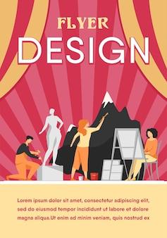 Artistas creando ilustración plana de obras de arte. pintura, dibujo y escultura de personajes creativos en el taller.