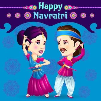 Artistas de dandiya celebrando navratri