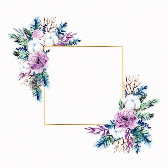 Artístico marco dorado con flores de invierno