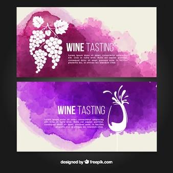 Artísticos banners de degustación de vino con manchas de acuarela