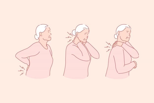 Artritis, reumatismo, concepto de enfermedad de la edad senil