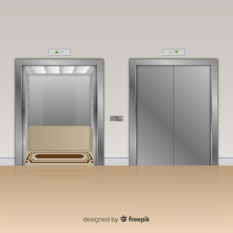 Ascensor moderno con diseño realista